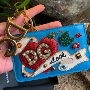Auth. DOLCE & GABBANA Leather embellished logo zip wallet/keychain